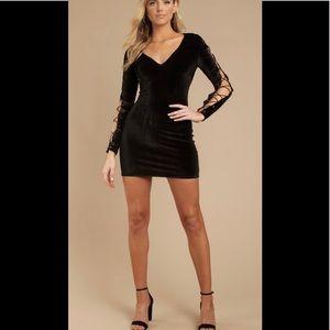 Tobi Black Velvet Lace Up Dress NWT